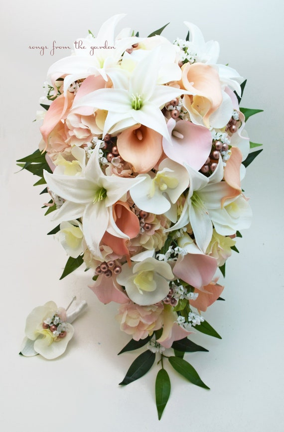 Calle Bouquet Sposa.Cascade Bridal Bouquet With Real Touch Orchids Lilies And Etsy