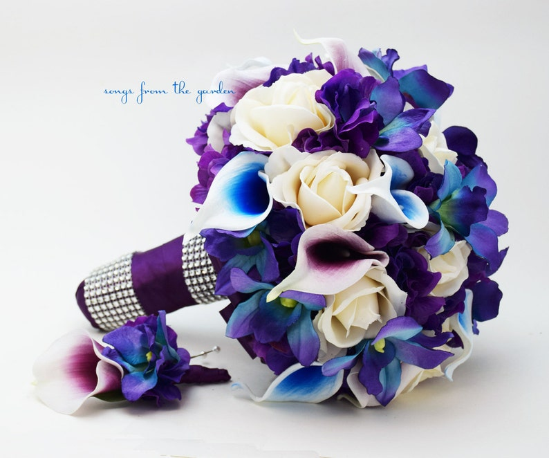 7be372e01f725 Blue Orchid Picasso Calla Bridal or Bridesmaid Bouquet - add a Groom s or  Groomsman Boutonniere - Blue Purple Plum White Wedding Bouquet