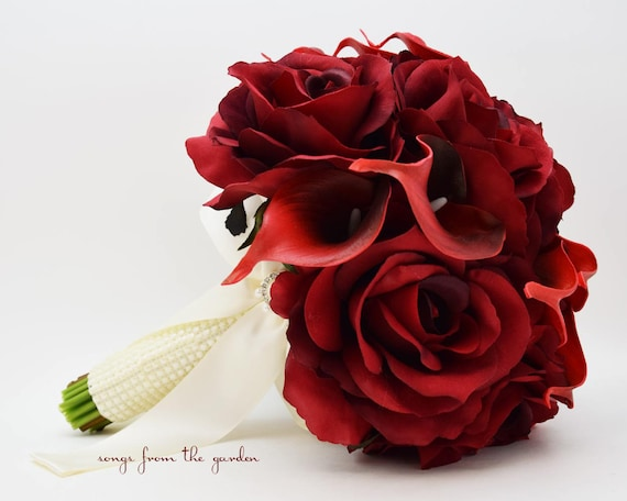 Deep Red Silk Roses Deep Red Calla Lilies Bridal Bouquet Etsy