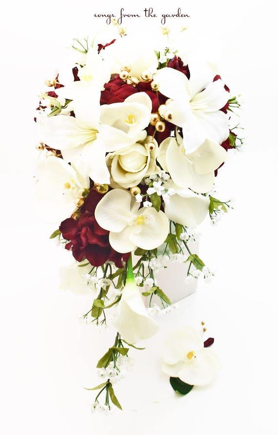 Kaskade Brautstrauss Mit Real Touch Orchideen Und Callas Etsy