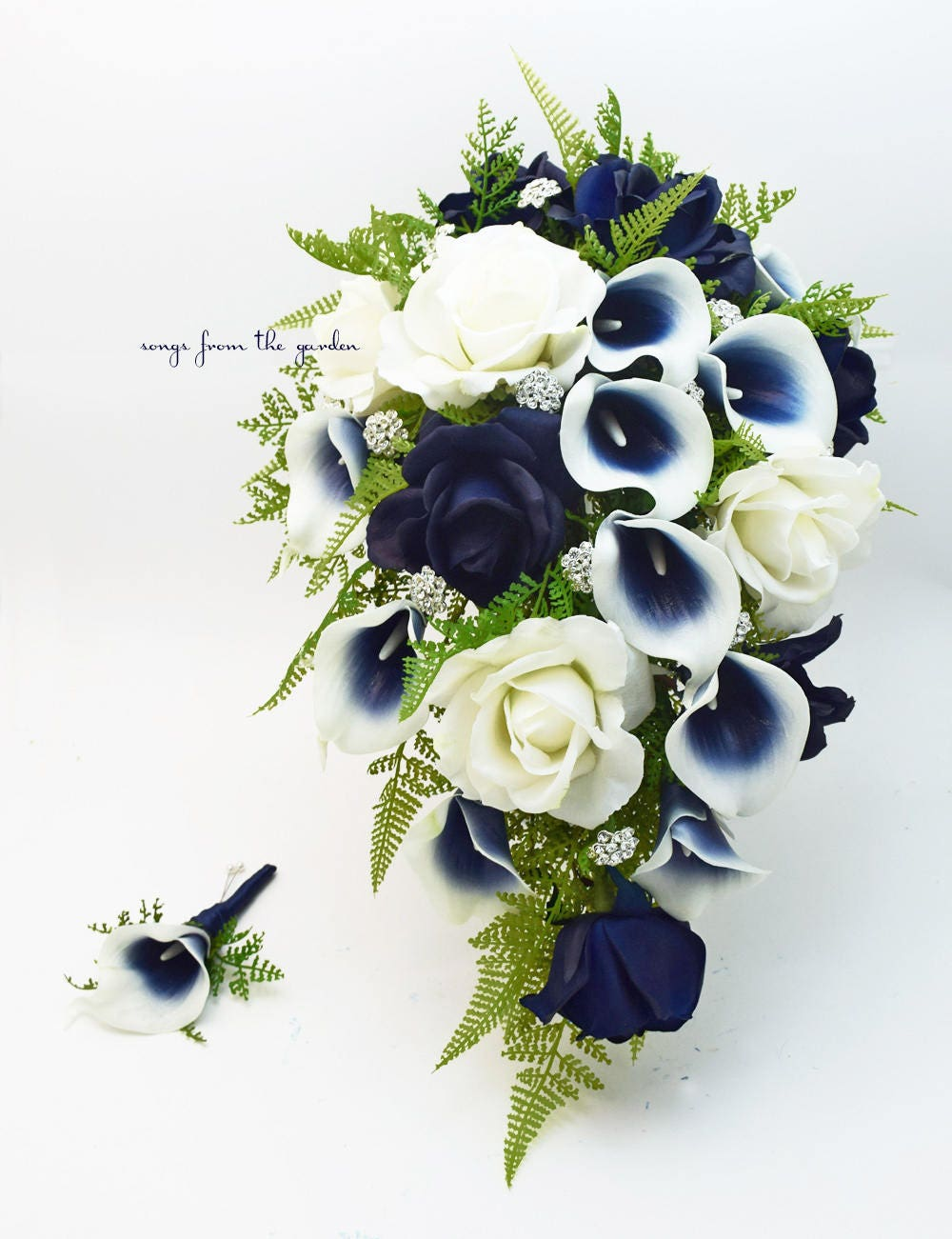 Navy Blue And White Cascade Bouquet Navy Picasso Callas Real Etsy