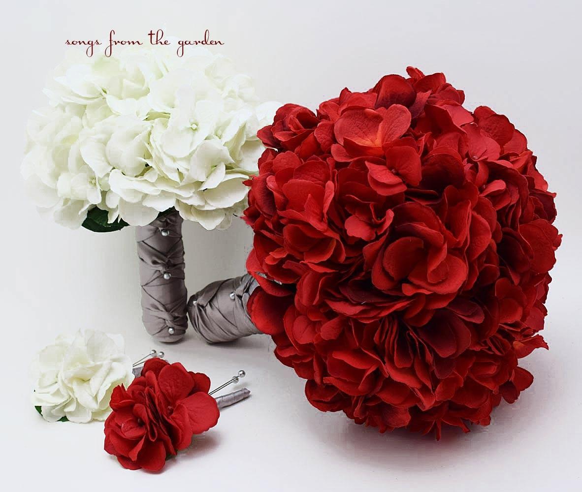 Red White Grey Silk Hydrangea Bridal & Bridesmaid Bouquet | Etsy