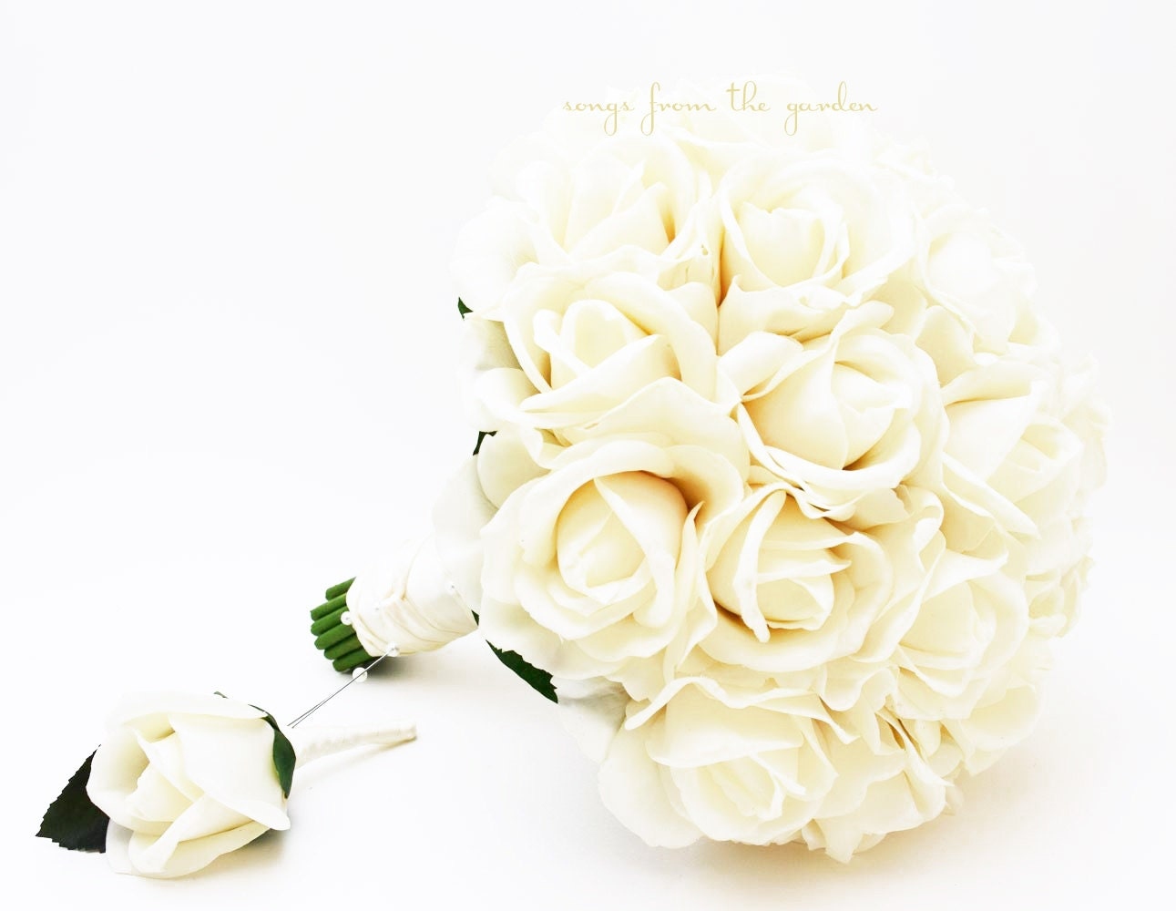 Ivory real touch roses bridal bouquet grooms boutonniere etsy zoom izmirmasajfo