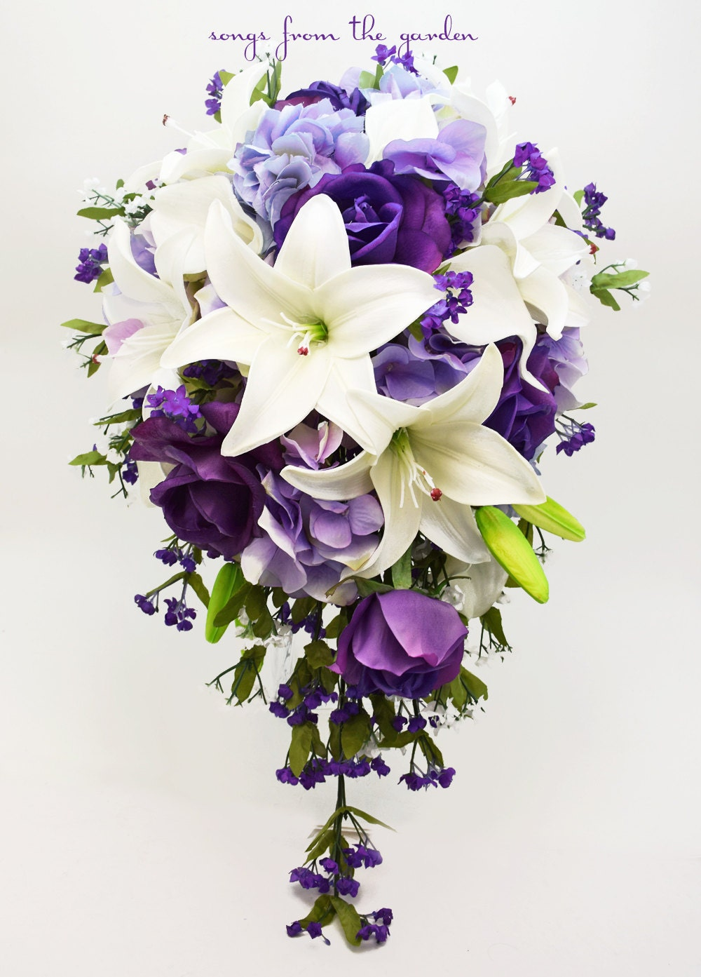 Cascade Bridal Bouquet With Real Touch Purple Roses Real Etsy