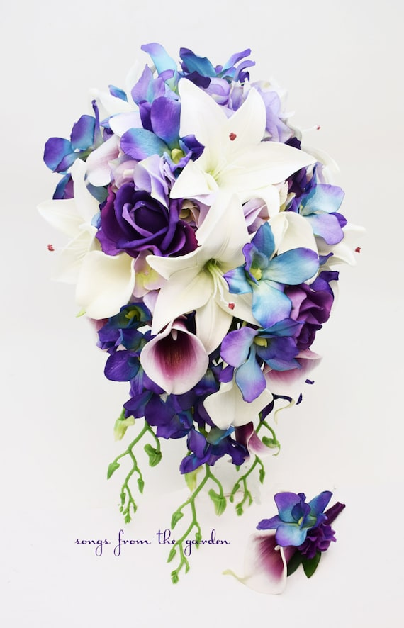 Kaskade Brautstrauss Blaue Orchideen Real Touch Lila Rosen Etsy