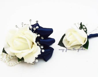 White Navy Real Touch Rose Wedding Boutonniere & Wedding Corsage with Crystals and Pearl Accents Wedding Homecoming Prom Corsage