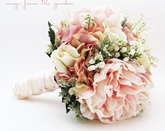 Bridal or Bridesmaid Wedding Bouquet Lily of the Valley Peonies Roses Hydrangea Pink White - Add Groom's Boutonniere Flower Crown and More!