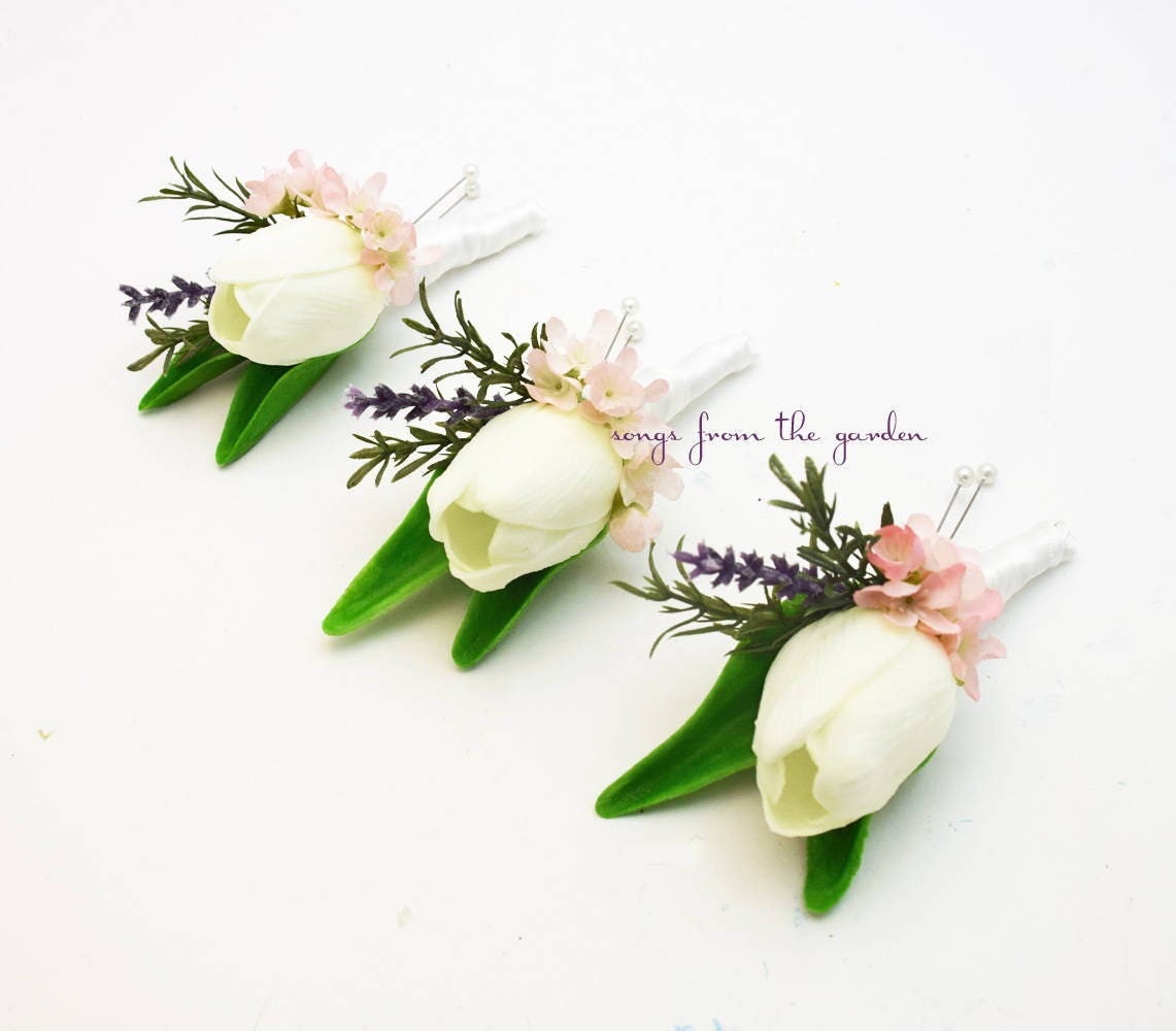 White Tulip Boutonnieres Lavender And Wax Flower Accents Etsy
