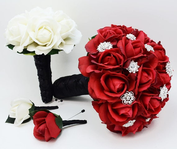 Bridal bouquet red roses and rhinestones black white etsy image 0 mightylinksfo