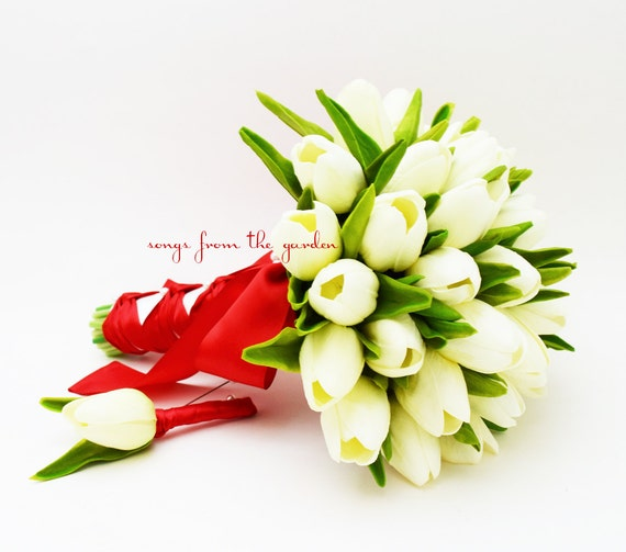 Real Touch Tulpen Brautstrauss Weiss Rot Band Brautigam Etsy