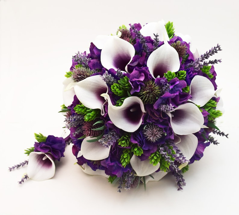 72ca5ca5ad348 Bridal or Bridesmaid Bouquet Purple Hydrangea Thistle Picasso Callas  Lavender Hops - Add a Groom or Groomsman Boutonniere - Wedding Flowers