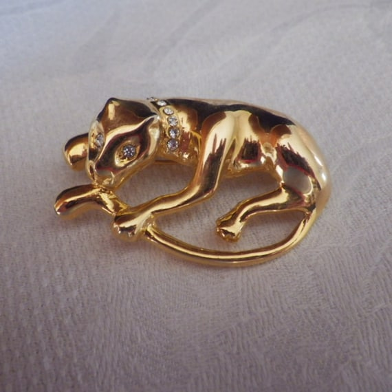 Vintage Gold Tone and Rhinestone Jaguar or Leopard