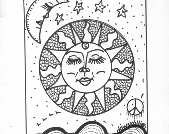 Hippie coloring book | Etsy