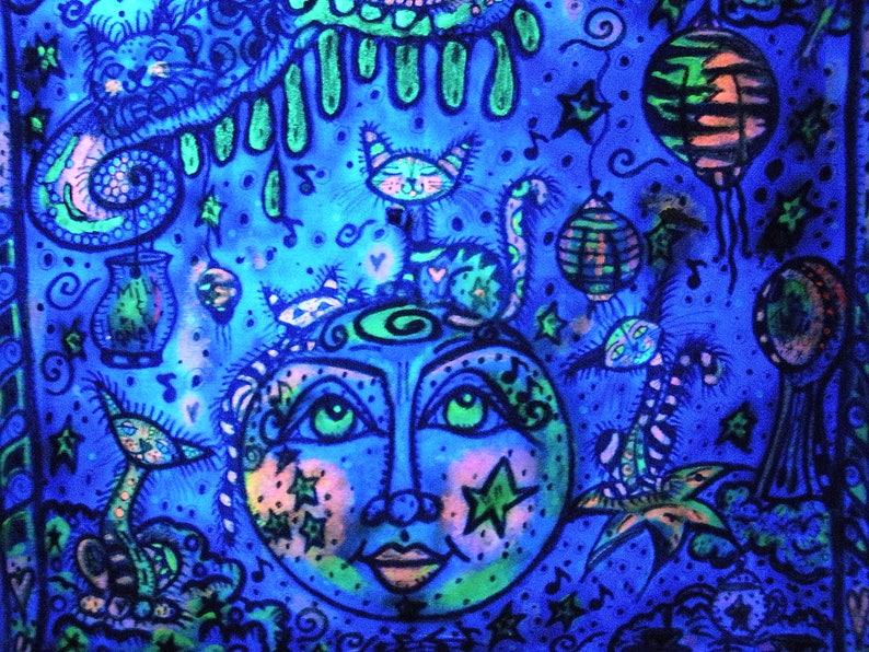Hippie Art Textile Art Free Shipping Blacklight Art OOAK Mixed Media Art The Zen Pen Peace Project Original Art Cosmic Kitties