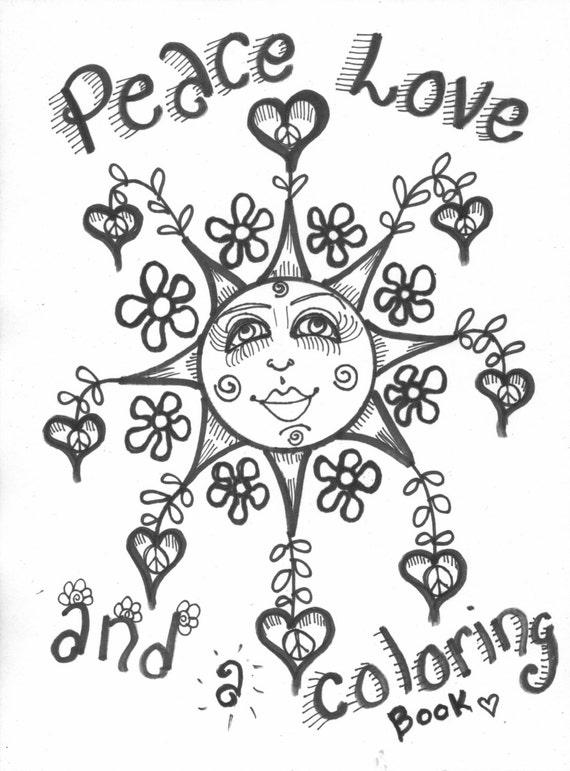 Arte hippie libro para colorear paz amor y un libro para | Etsy