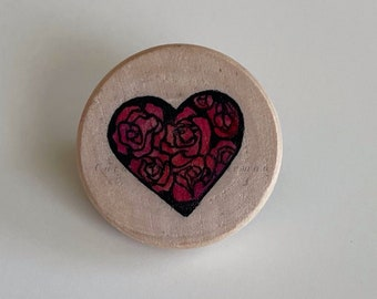 Hand-Painted Wild Roses Heart Pin ©Cara Finnerty Coleman