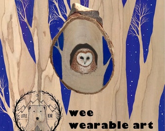 Hand Painted Mr. Owl is Watching Wooden Brooch Pin ©Cara Finnerty Coleman