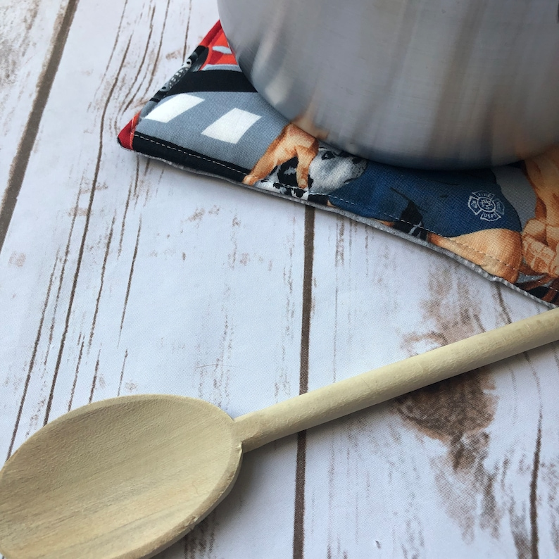 Quilted Hot Pad Housewarming Gift Fireman Pot Holder