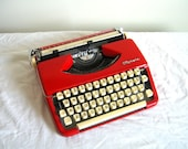 Rare Valentine Red Vintage Olympia De Luxe Metal Typewriter - Reconditioned