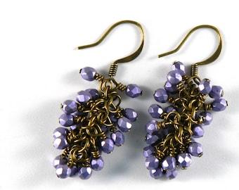 Metallic Purple Cluster Brass Earrings