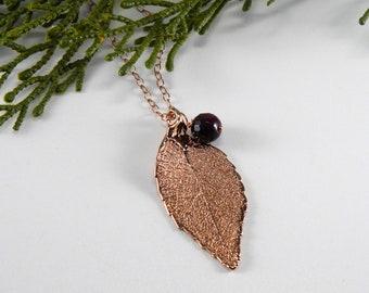 Rose Gold Laurel Leaf and Amethyst Necklace, Real Leaf Pendant, Symbol of Success