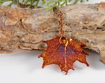 Little Copper Maple Leaf Pendant on 20 inch Chain, Leaf Necklace, Symbol of Strength