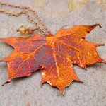 """Iridescent Copper Electroplated Maple Leaf Pendant on 27"""" Long Chain"""
