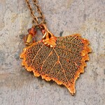 Necklace with Small Copper Dipped Real Cottonwood Leaf Pendant, Heart Shaped Pendant
