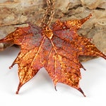 Preserved Maple Leaf Pendant on 30 inch Long Chain, Copper Leaf Necklace, Autumn Leaf, Symbol of Promise