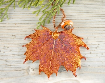 Botanical Pendant Necklace, Copper Maple Leaf Necklace, 20 inch Necklace, Real Leaf Jewelry, Gift for Women,