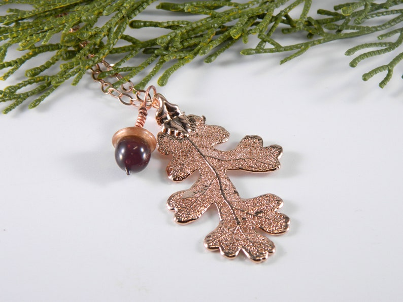 Rose Gold Oak Leaf Necklace with Glass Acorn on 30 inch chain image 0