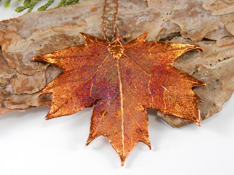 Preserved Maple Leaf Pendant on 32 inch Long Chain Copper image 0