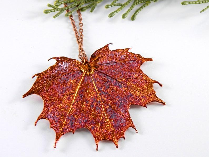 Copper Sugar Maple Leaf Pendant on 36 inch Chain Long image 0