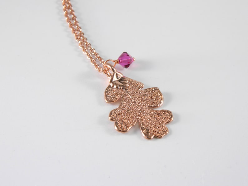 Rose Gold Dipped Lacey Oak Leaf on 20 inch chain Necklace image 0