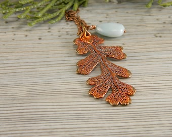 Copper Lacy Oak Leaf Pendant on 30 inch Long Chain with Peruvian Opal, Necklace for Rangers Apprentice fan, Strength and Courage Symbol