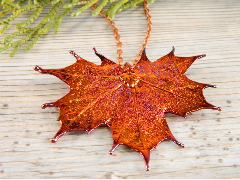 Copper Plated Maple Leaf Pendant Necklace 20 inch Necklace image 0