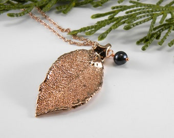 Rose Gold Laurel Leaf and Pearl Necklace, Christian Symbol of Resurrection, Confirmation Gift