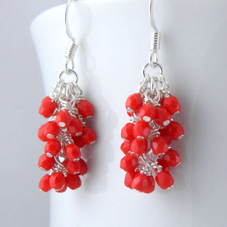 Red Cluster Earrings with Surgical Steel or Sterling Ear image 0