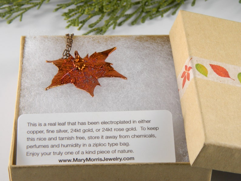 Small Maple Leaf Pendant Necklace with Short Chain image 0