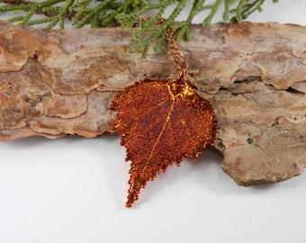 Copper Plated Birch Leaf Pendant Necklace on Long Chain, Birch Tree Wedding, Fall Wedding