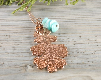 Rose Gold Dipped Oak Leaf on 30 inch chain with Blue Accent, Gift for Her, Amazonite and Leaf Necklace