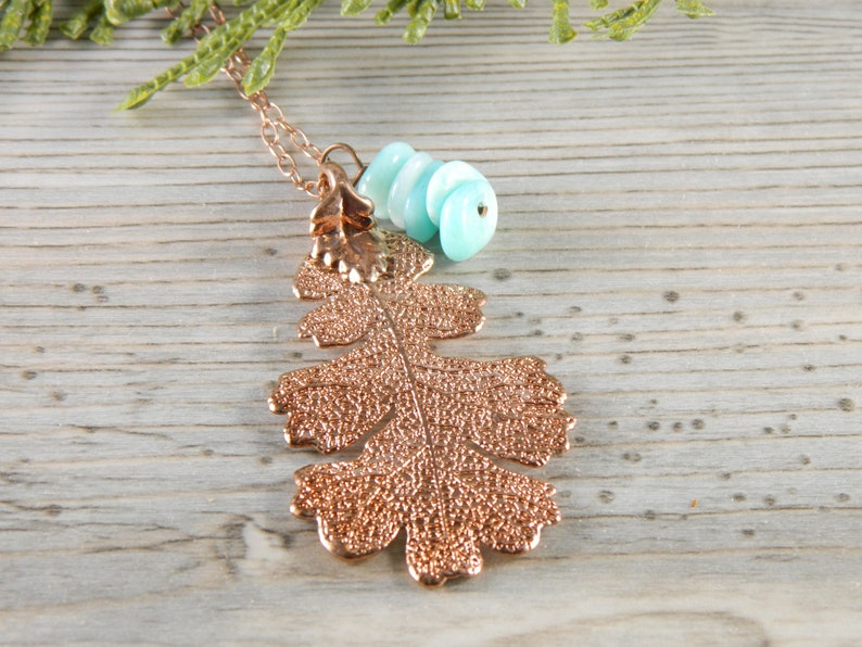 Rose Gold Dipped Oak Leaf on 30 inch chain with Blue Accent image 0