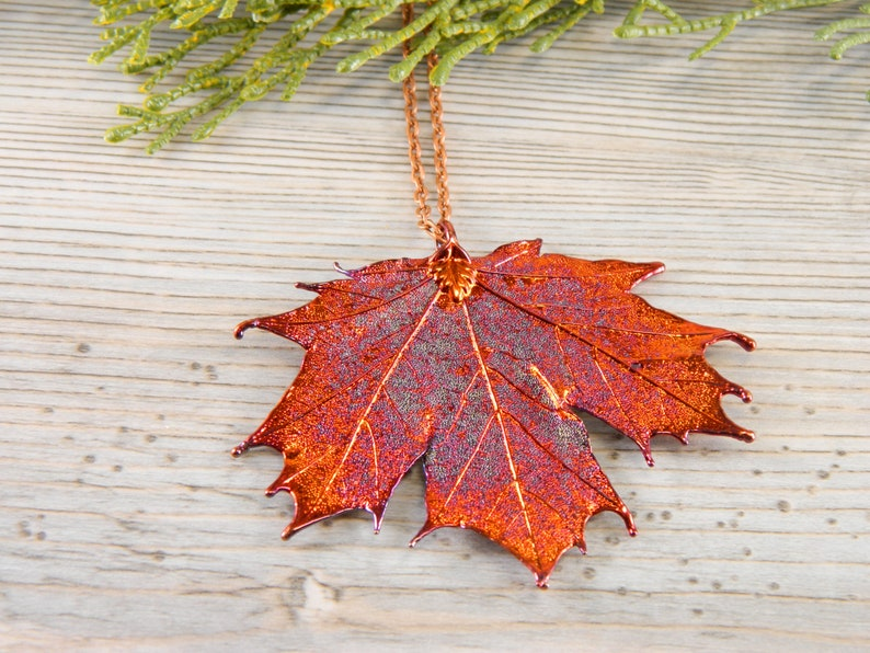 Copper Dipped Maple Leaf Pendant on Long Necklace Real Leaf image 0