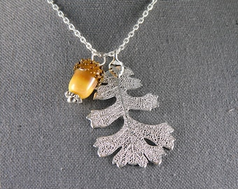 Silver Oak Leaf Necklace with Real Leaf Pendant and Glass Acorn, Oak Symbol of Endurance and Life, Electroformed Plant