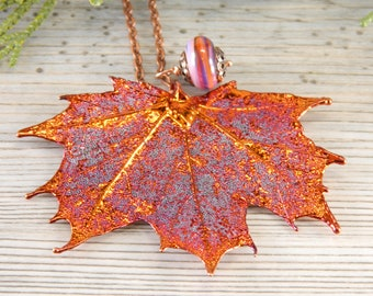Long Necklace with Copper Dipped Real Maple Leaf Pendant, Gift for Wife, Sugar Maple Necklace, Botanist gift