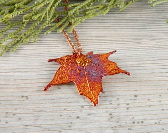 Small Copper Maple Leaf Necklace, 20 inch Necklace, Christmas Gift for Her