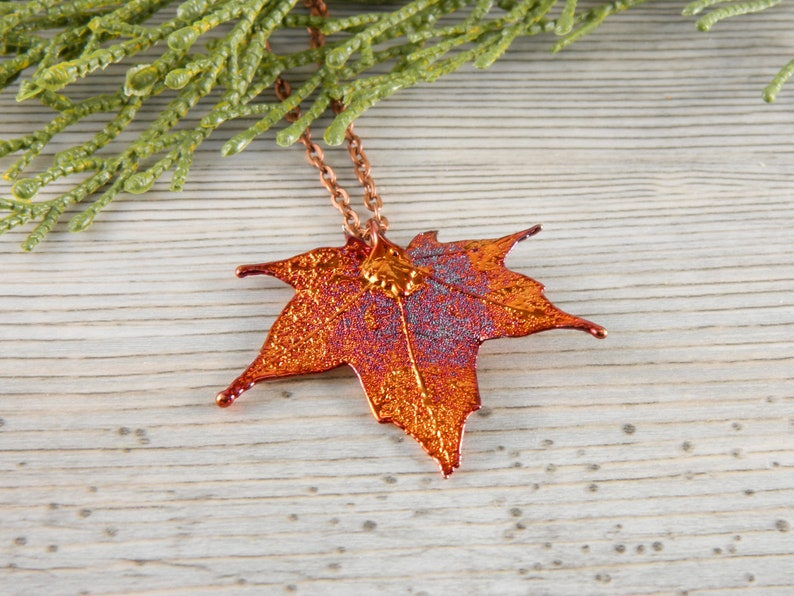 Small Copper Maple Leaf Necklace 20 inch Necklace Christmas image 0