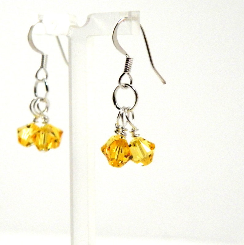 Yellow Crystal Dangle Earrings with Surgical Steel or Sterling image 0