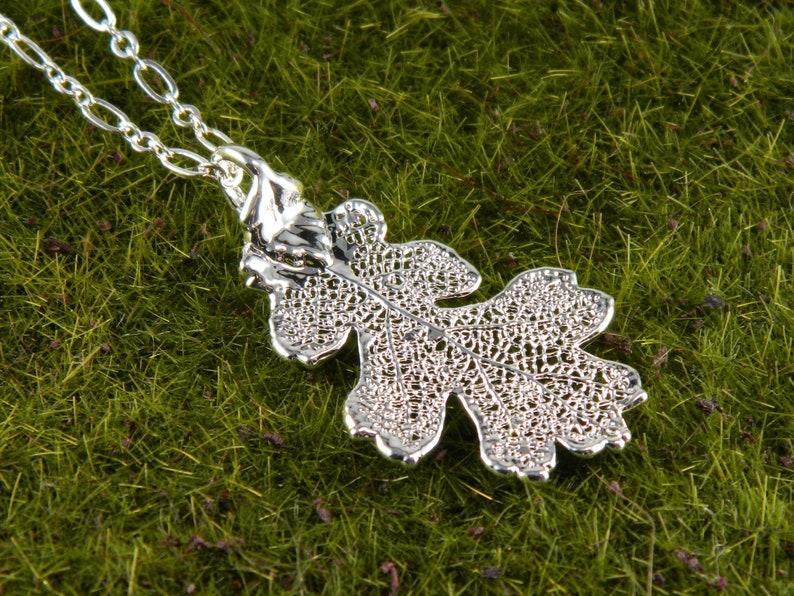 Small Silver Oak Leaf Pendant Real Leaf Necklace Christmas image 0
