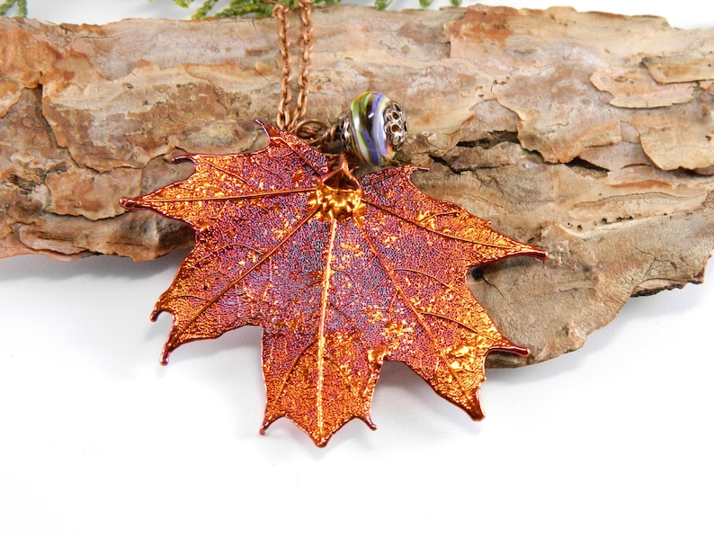 Electroformed Maple Leaf Pendant 30 inch chain Nature image 0